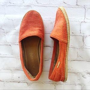 🍁Kaanas] espadrille flat, burnt orange woven
